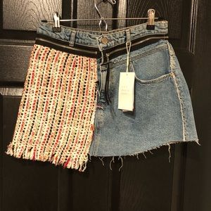 Zara distressed tweed denim mini skirt